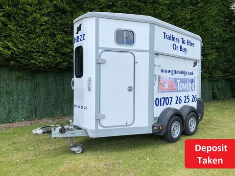 Photo of Ex-Hire Ifor Williams HB506 White Double Horse Trailer