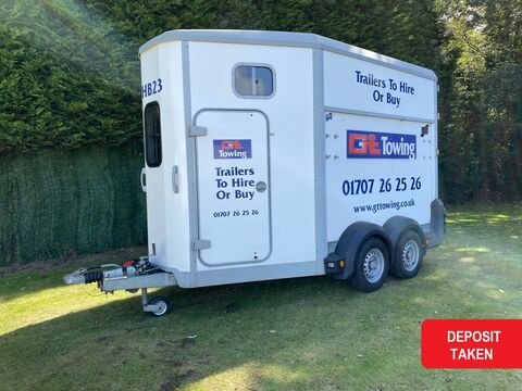 Photo of Ex-Hire Ifor Williams HB511 White Double Horse Trailer